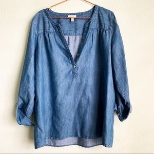 SOFT JOIE chambray blouse shirt long sleeve M jean